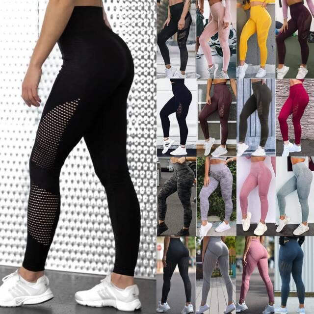 Women/'s High Waist Yoga Pants Seamless Push Up Trousers Fitness Stretch Leggings
