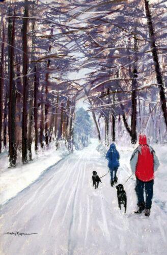 Winter Walk Giclee Print by Shelley Koopmann 20.5 x 14.75 -