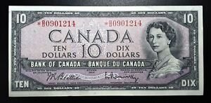 1954-Bank-Of-Canada-10-Beattie-Rasminsky-Replacement-Note-B-D0901214-BC-40bA