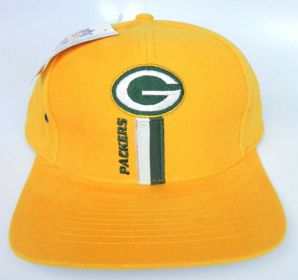 d1d072decfe7e GREEN BAY PACKERS NFL YELLOW LOGO ATHLETIC 1990s VINTAGE SNAPBACK CAP HAT  NWT