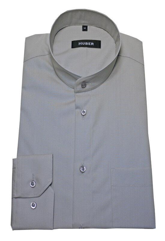 HUBER Qualitäts Stehkragen Hemd grey hellgrey bügelleicht HU-0007 Regular