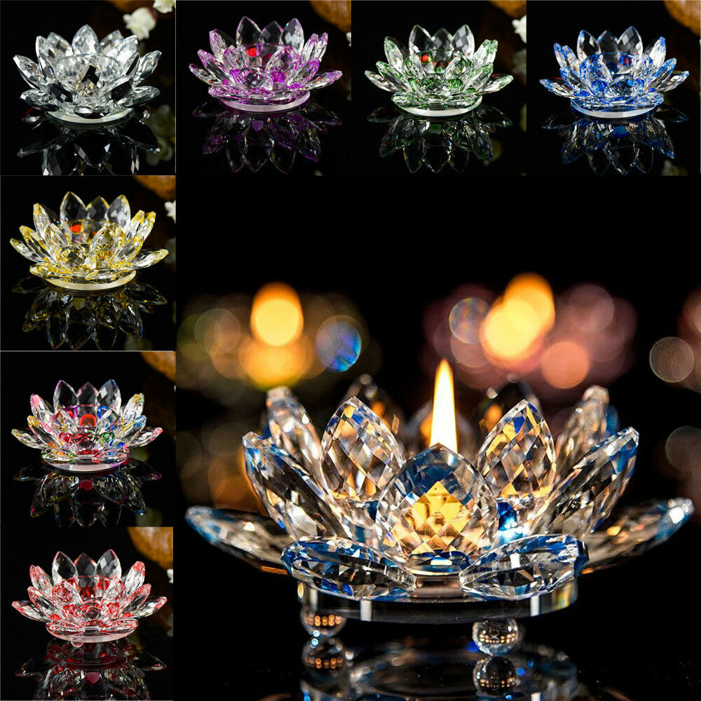Crystal Glass Lotus Flower Candle Tealight Candle Holder Wedding