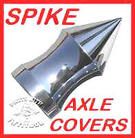 POLISHED ALUMINUM SPIKE HARLEY AXLE COVERS /'00-/'07 ROADKINGS /& TOURING MODELS