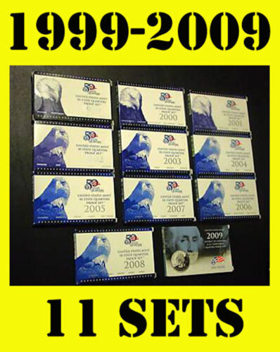 1999-2008 2009 US MINT 50 STATE QUARTERS PROOF COIN COLLECTION SET+BOX+COA