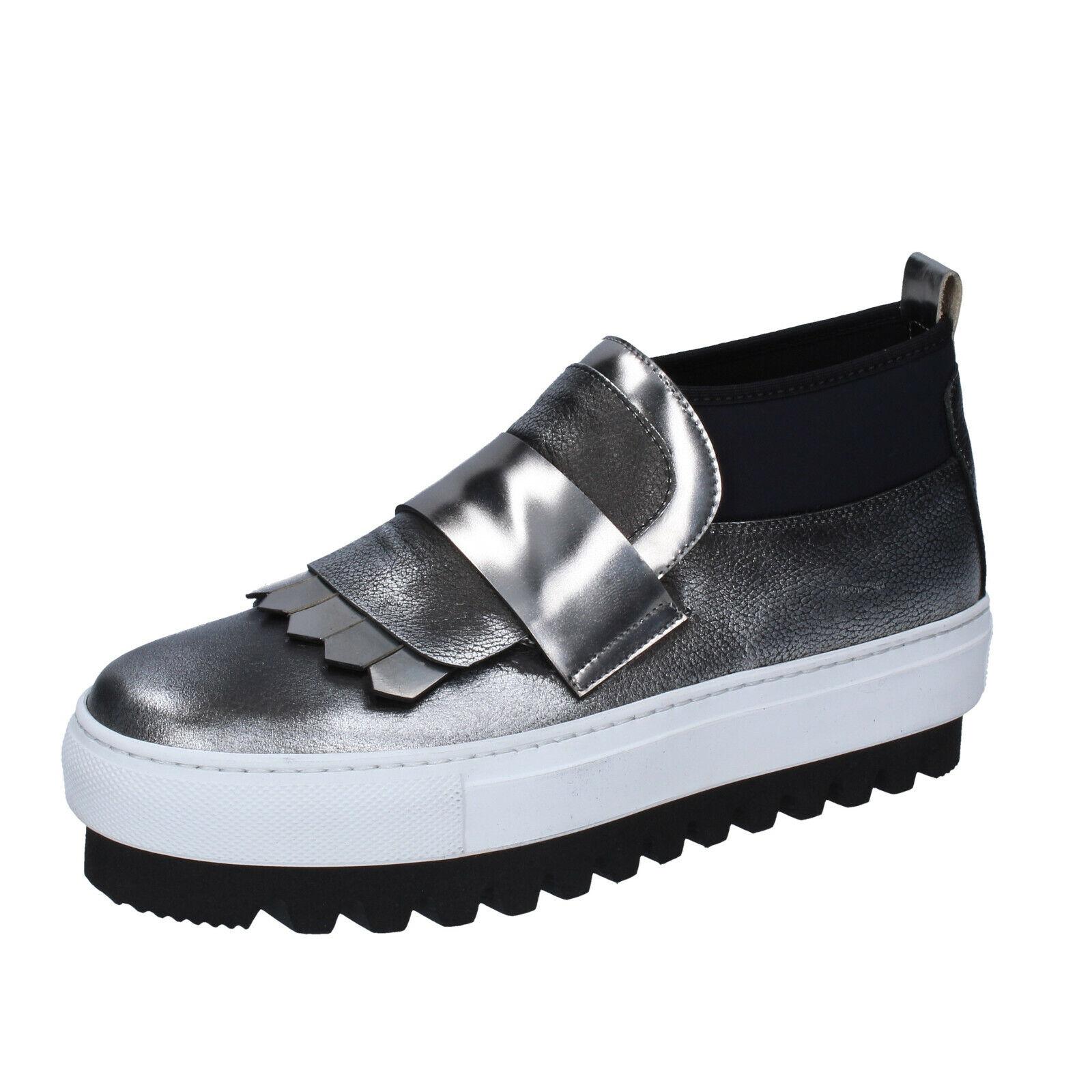 Chaussures femmes Locker 37 UE Slip on argent noir cuir bs966-37