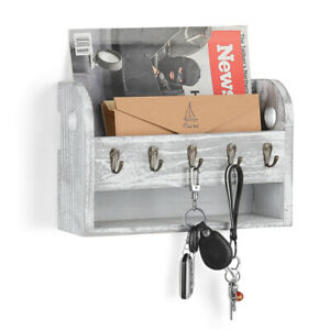 Wall-Mounted-Letter-Rack-Holder-with-5-Key-Hooks-Envelope-Organizer-For-Entryway