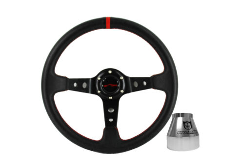 Deep Dish Steering Wheel Black Red Stitch Polaris RZR Pro Armor Hub Silver