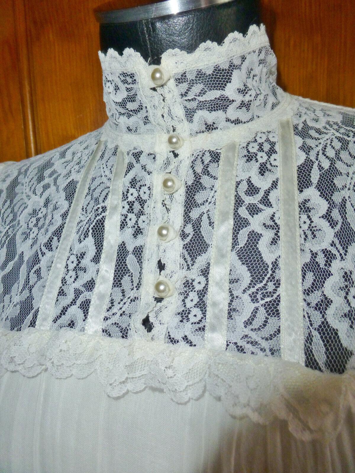 Vintage 70s GUNNE SAX Gauze Cotton Lace Prairie C… - image 5