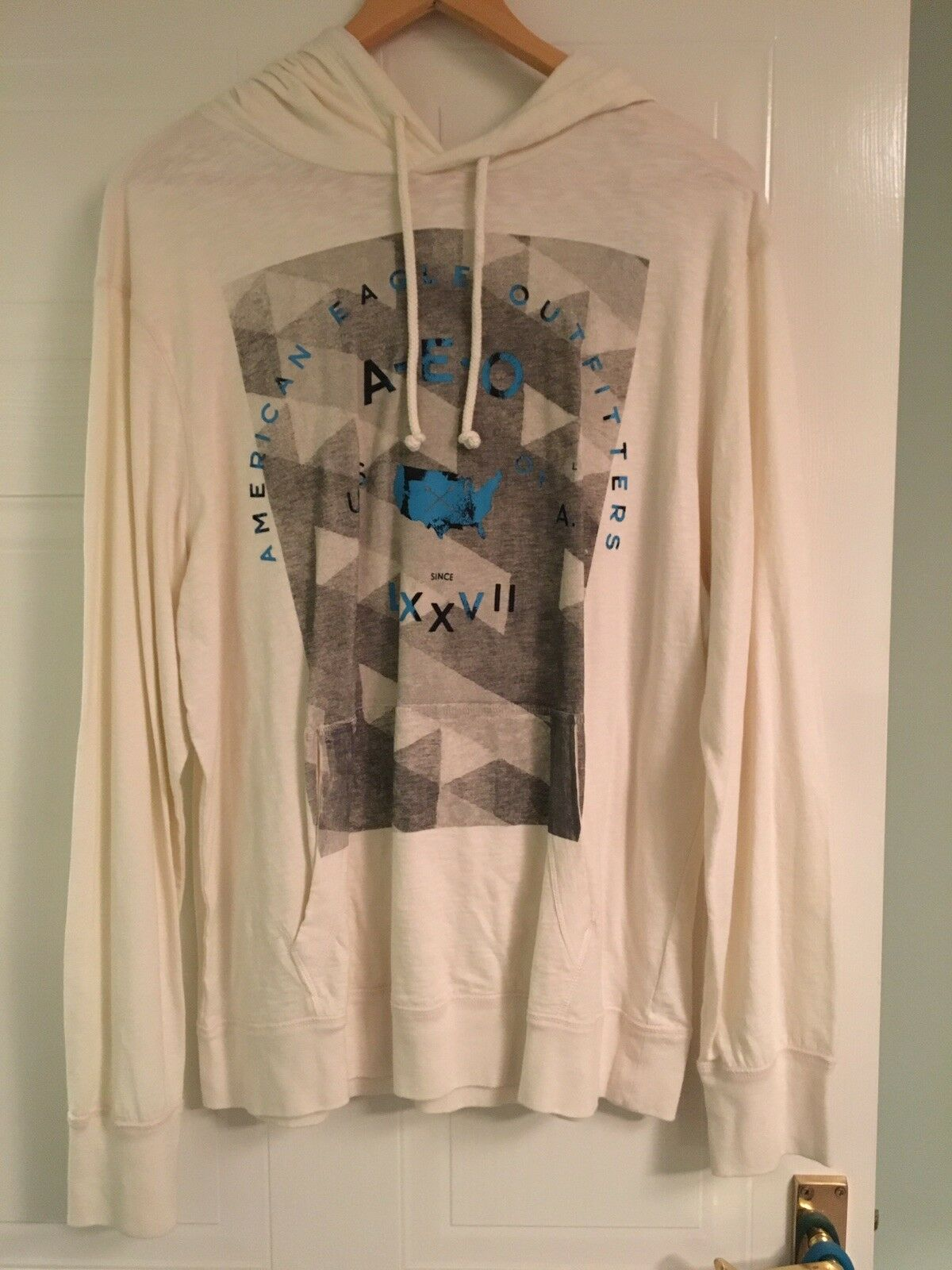 American Eagle Athletic Fit 'Off White' White Hoodie Casual
