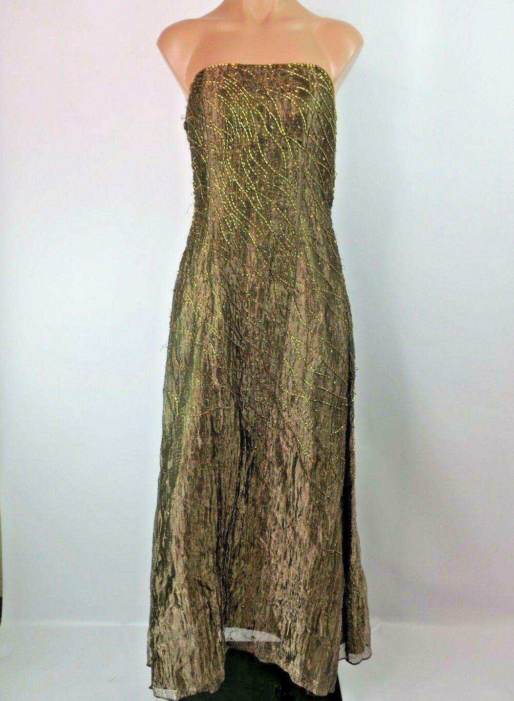 7d81624078fcc SCALA VTG 90s Sequin Beaded Iridescent Bronze gold Evening Prom Gown Sz M
