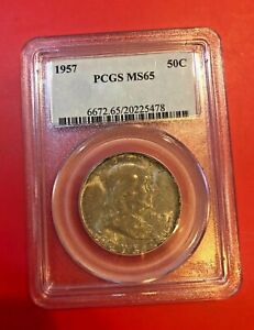 1957-PCGS-MS-65-Franklin-Silver-Half-Dollar-Gem-MS65-Silver-50-Cent-Coin-TONED