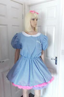 Unisex Adult School Girl Dress Fancy Dress Sissy Lolita Cosplay Gingham