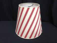 1 Pottery Barn Red Cream Classic Stripe Floor Table Drum Light Lamp Shade  14x15