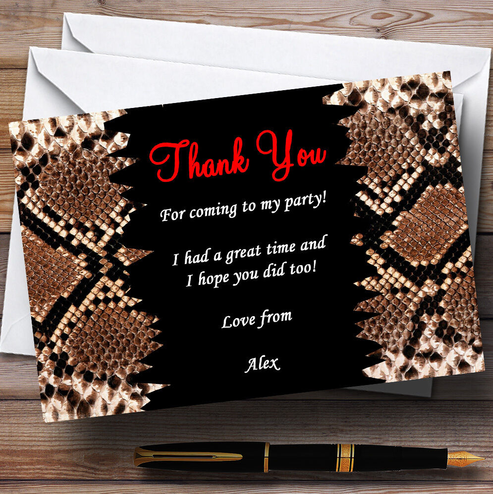 Animal Print Snakeskin rot Personalised Party Thank You Cards
