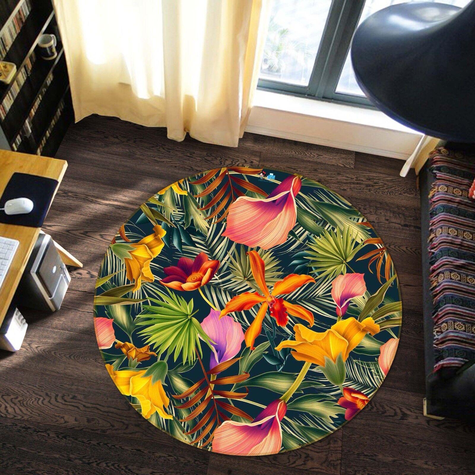 3D Flower Leaf 8 Non Slip Rug Mat Room Mat Round Quality Elegant Photo Carpet US