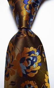 New-Classic-Floral-Gold-Brown-Blue-JACQUARD-WOVEN-100-Silk-Men-039-s-Tie-Necktie