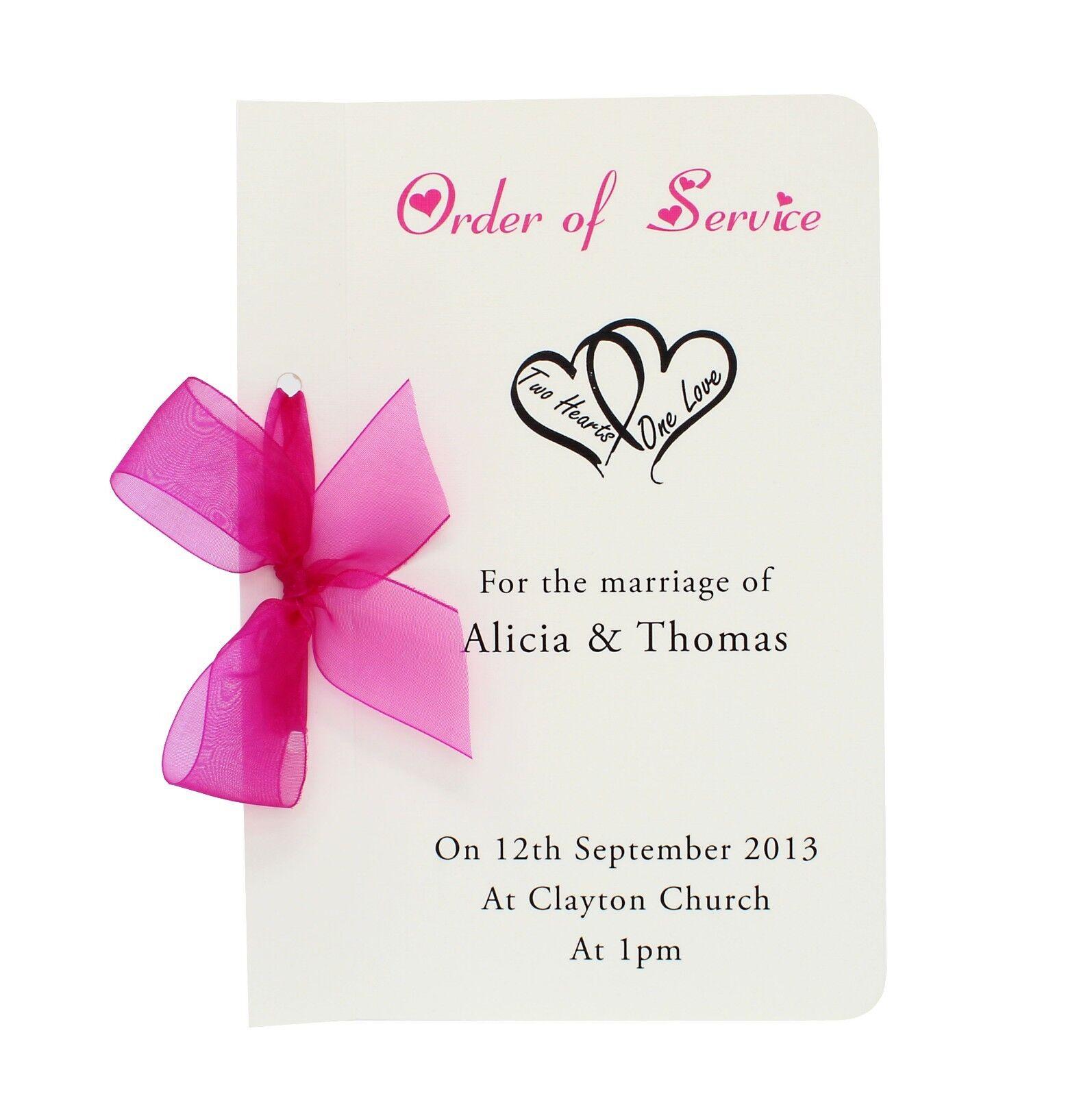 Personalised Handmade Mariage Ordre de service brochure-couleurs différentes
