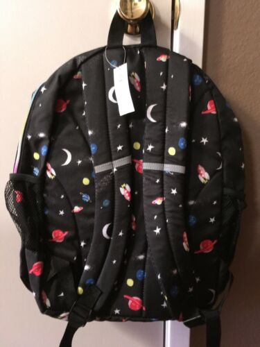 Old Navy Kids Black Space Galaxy Planet School Backpack With Zipper Pocket NWT