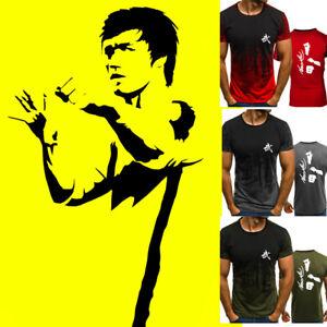 UFC-Bruce-Lee-Print-Men-T-shirt-Kung-Fu-Martial-Arts-Youth-Tee-Top-Short-Sleeve