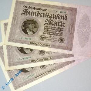 1 X 100 000 Mark Reichsmark Schein Ros 82 D Banknote Vom 01 02