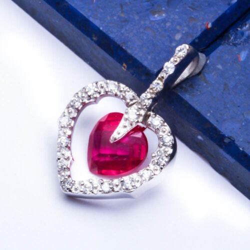 BEAUTIFUL RUBY /& RUSSIAN CZ HEARTS .925 Sterling Silver Pendant