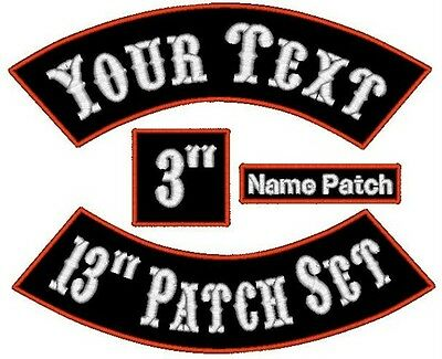 """Custom Embroidered Embroidery Rocker Name Patch Set Motorcycle Biker 13"""" MC Tags"""