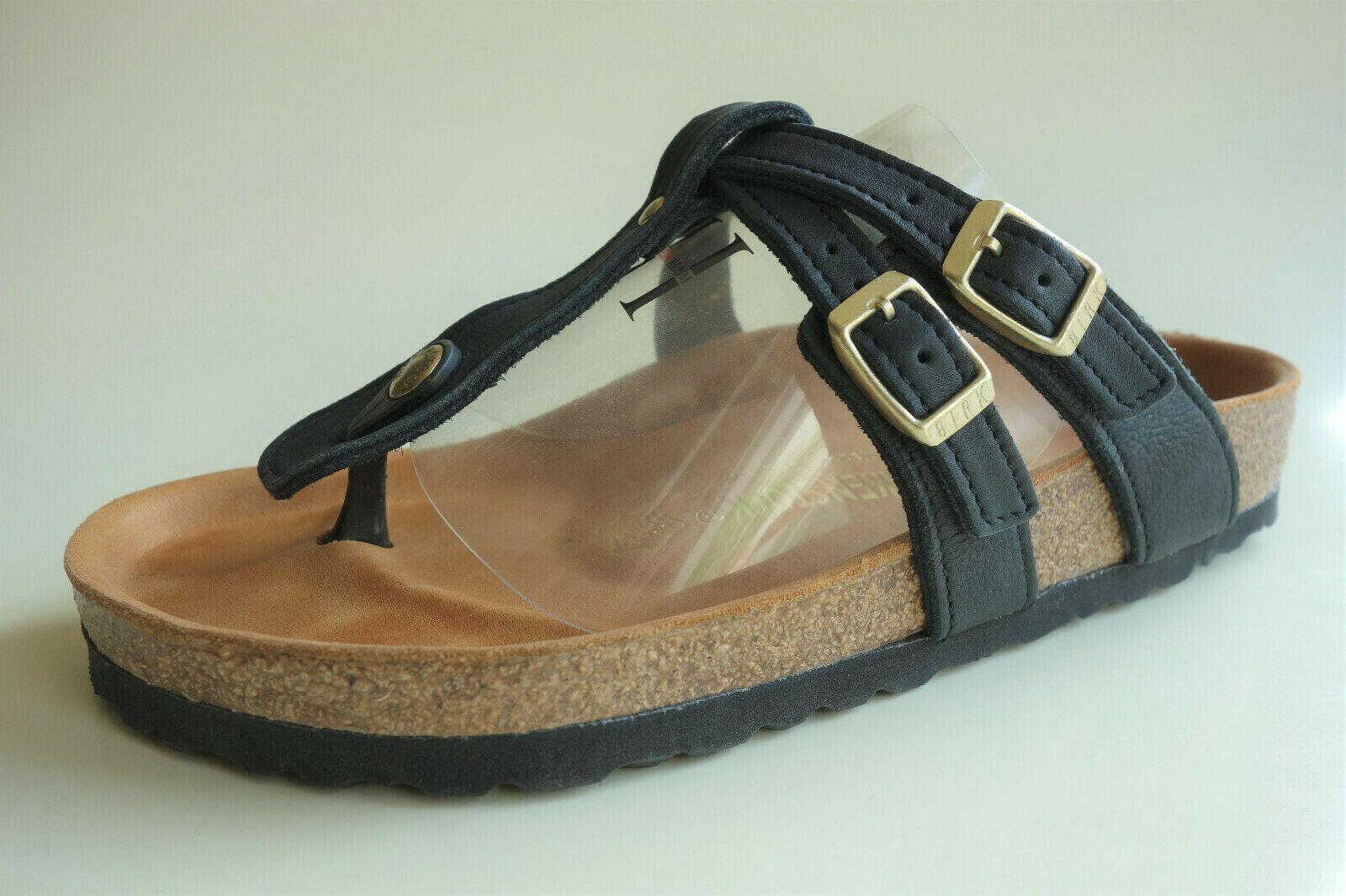 -raro-BIRKENCTOCK Leather Sandal Slide ADANA EXQ nero US7.5   REF   REF  Normale  spedizione veloce in tutto il mondo
