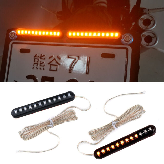 4X 12LED Turn Signal Lights ATVs Motorcycle Sequential Flowing Mini Lamp Strips