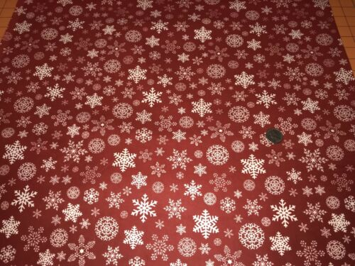 Fabric Snowflakes White on Red Designer Flannel by the 1//4 yard