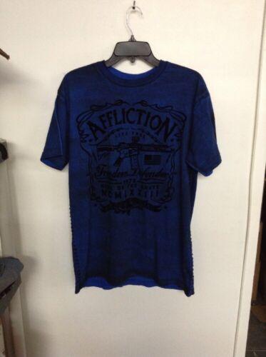 Affliction Freedom Defender Men/'s Blue /& Black Side Stitched T-Shirt M L XL XXL
