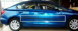 Body-Side-Mouldings-Door-Molding-Protector-Trim-Black-for-Honda-Civic-4d-2013