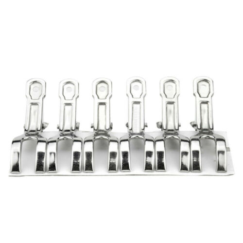 6//12PCS Stainless Steel Large Beach Towel Clips Clamps Clothes Pegs Pins Set US