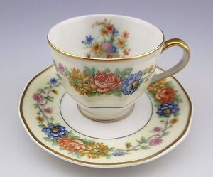 RARE-Theodore-Haviland-Limoges-Azay-Le-Rideau-Espresso-Cup-and-Saucer