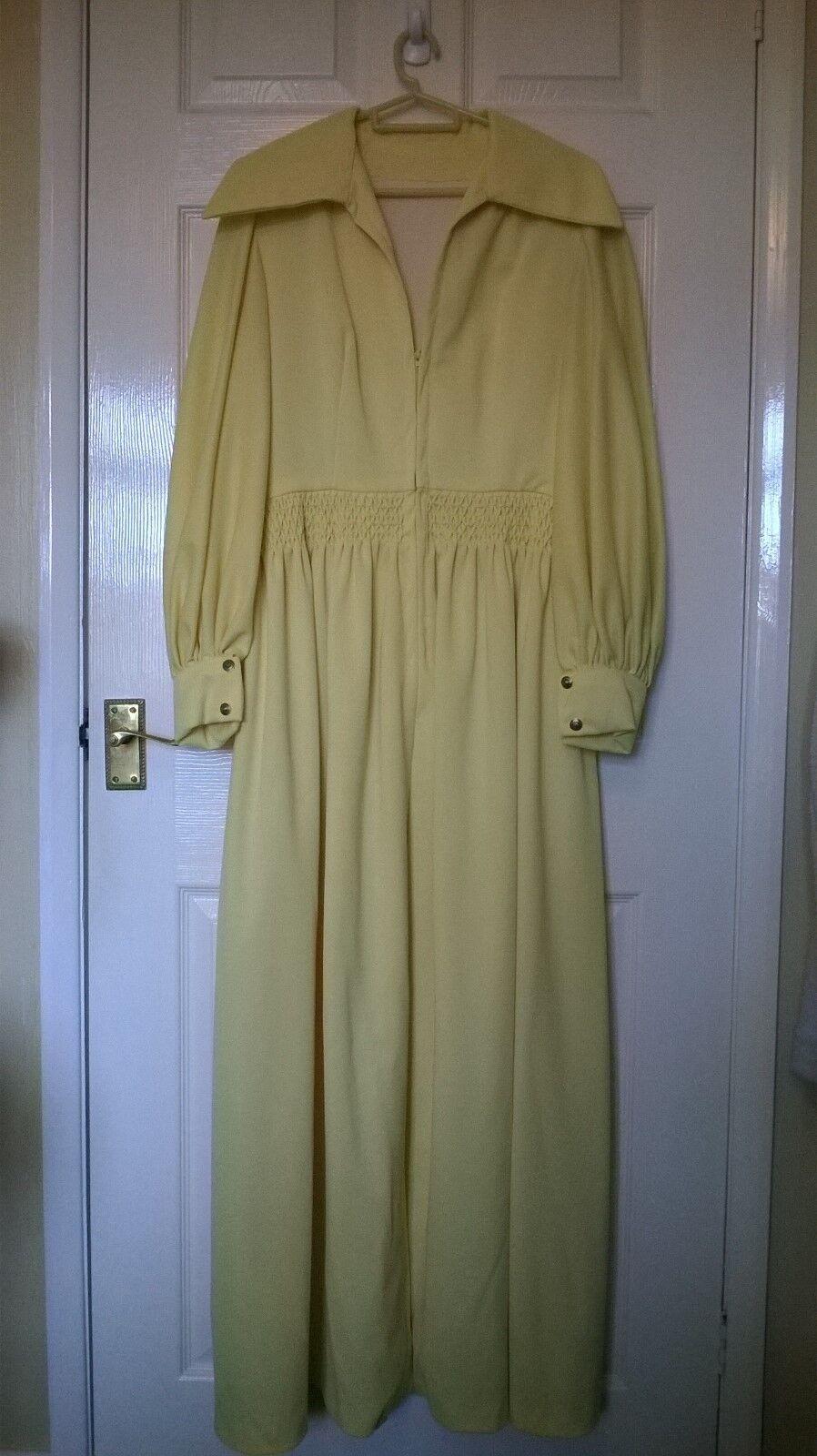 Vintage Ladies long evening dress, plain yellow