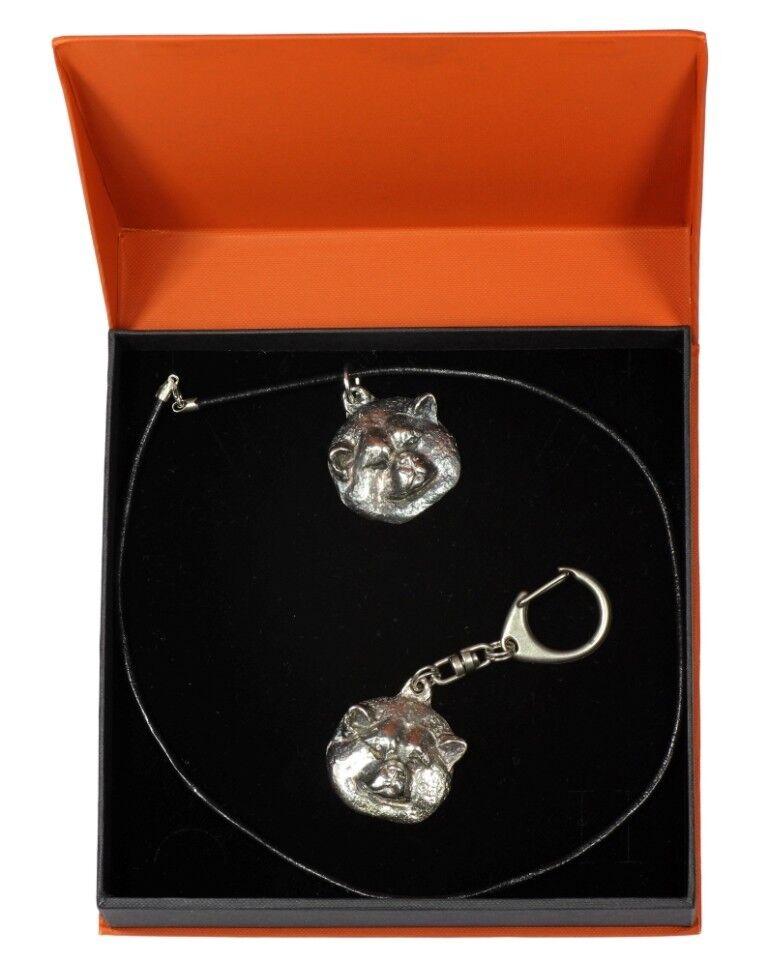Akita inu  set d'un  en, bijoux dans une boîte orange, Art Dog FR