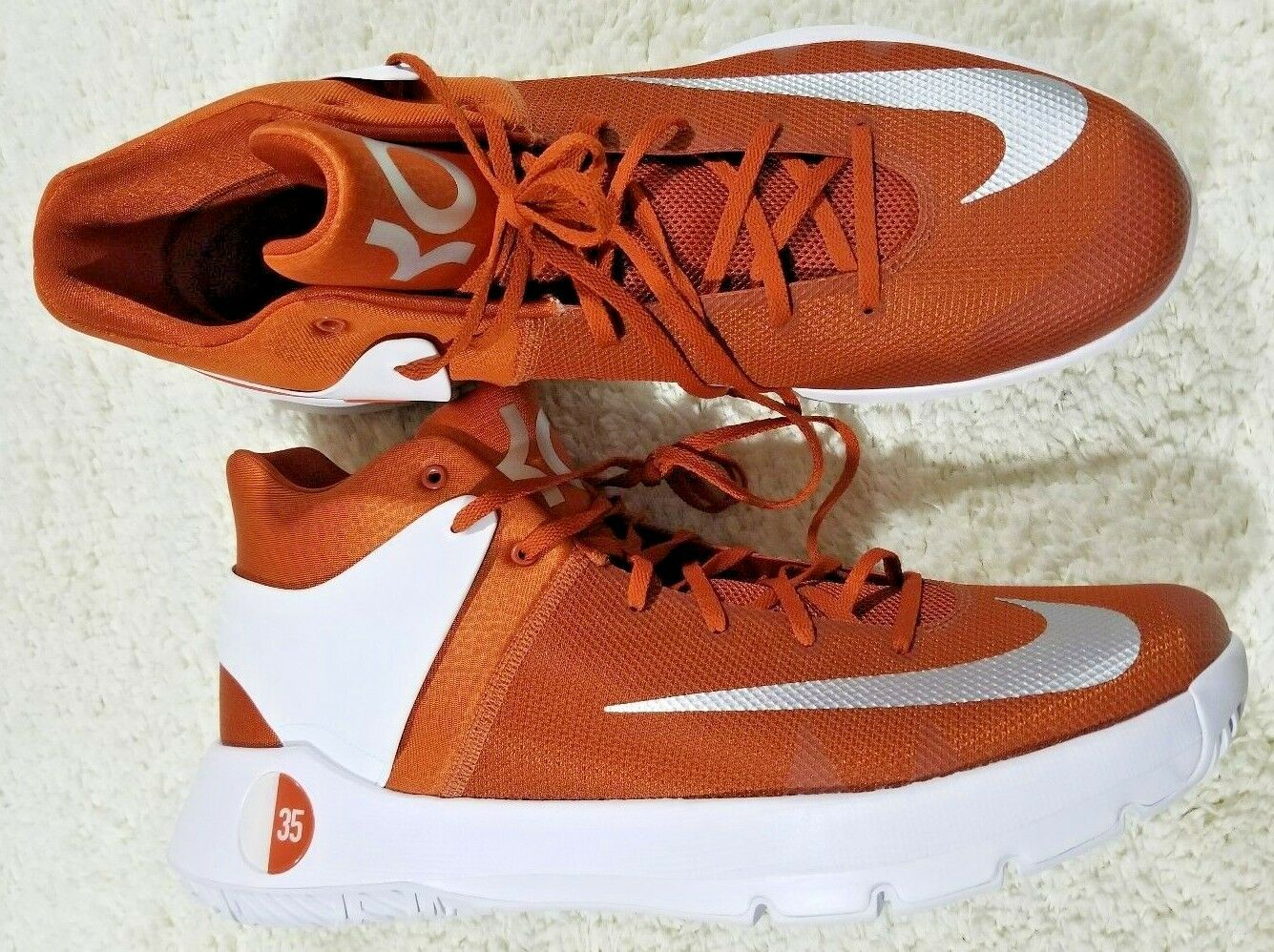 NEW NIKE KD Trey 5 IV Basketball shoes Men's 15.5 M Dark orange White 856484-882