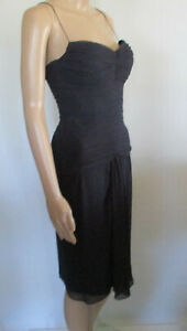 Maticevski-Sweethearts-Womens-Sz-8-Ink-Navy-Ruched-Corset-Bodice-Dress-VGC