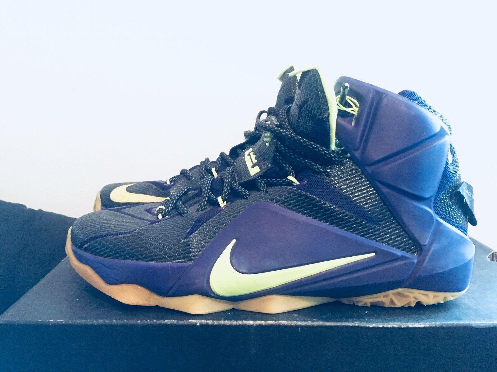 2015 Mens Nike Lebron XII 12 Laker Black Purple Gold White Size 9.5 Used Rare DS