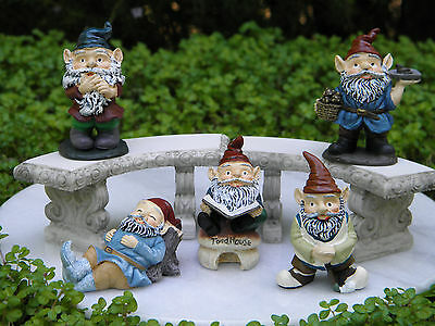 Miniature Dollhouse FAIRY GARDEN Accessories GNOME ~ Set / 5 Garden Gnomes ~ NEW