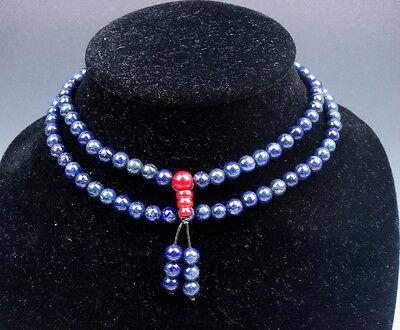 Antiques Hearty 33cm Lang Lila Perlen Halskette 0.5cm Perlen Dicker 04131705 Demand Exceeding Supply Asian Antiques