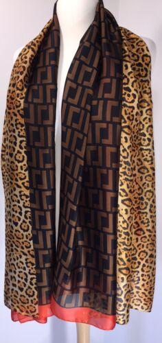 Leopard Print Scarf Silk Leopard Print Pashmina Orange Softest Oversized NEW
