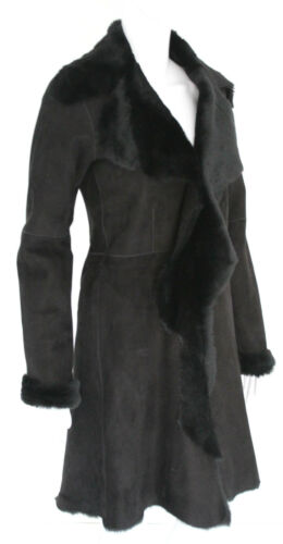 Suede Shearling Women's Coat 3 Black Sheepskin Full 4 Real Length Merino Leather Ux4Bgnwqn