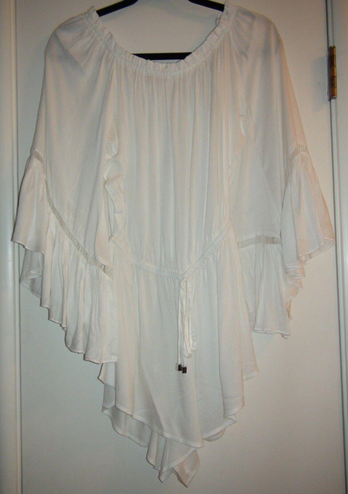 Elan OFF SHOULDER LADDER RUFFLE Crochet Trim Romper Cover Up White Sz S & M NWT