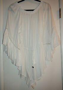 0618b499e4f9 Elan OFF SHOULDER LADDER RUFFLE Crochet Trim Romper Cover Up White ...