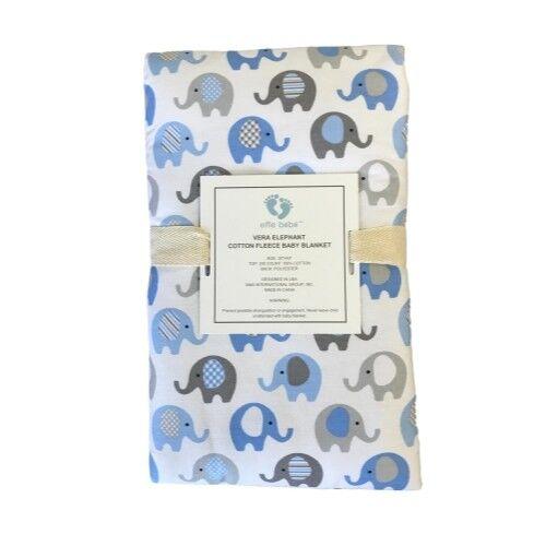 Vera Elephant Cotton Fleece Baby Blanket