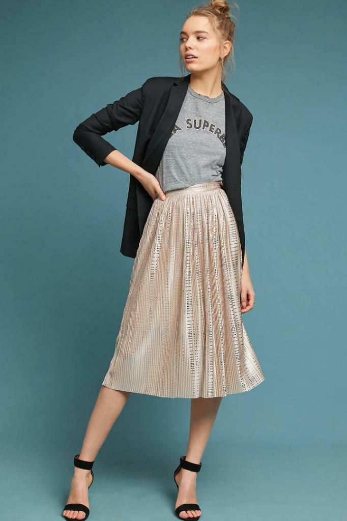 Anthropologie Cassia Shine Midi Skirt new nwt size 2