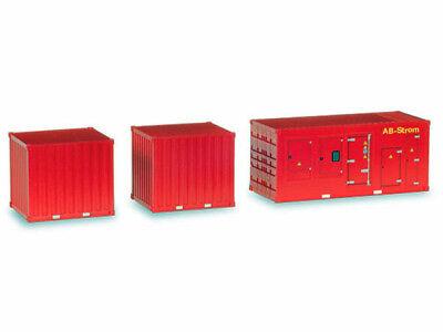 Herpa 076807 1 Stromaggregat und 2 x 10 ft.Container Feuerwehr 1:87 H0 NEU