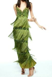 New-Marchesa-Notte-Fringe-Embellished-Embroidered-Dress-Long-Gown-IT-46-US-10