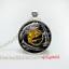 Vintage cabochon Tibetan Silver Verre Chaîne Collier Pendentif yin et yang #Y45