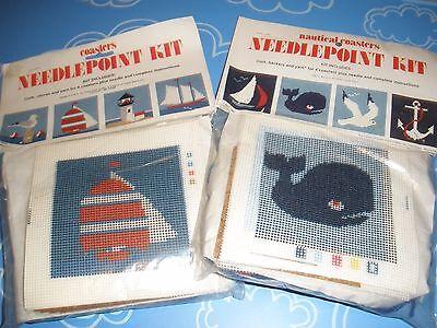 Needlepoint Kit NAUTICAL COASTERS Set of 8 / Two (2) KITS Lighthouse Seagull